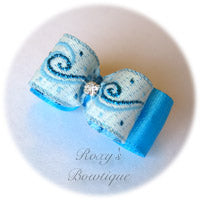 Island Blue and Rhinestone Puppy Dog Bow
