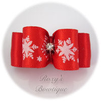 Red Snowflakes - Puppy Dog Bow