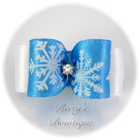 Blue Snowflakes- Puppy Dog Bow