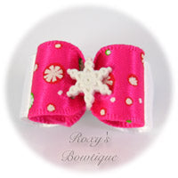 Hot Pink Snowflakes - Puppy Dog Bow
