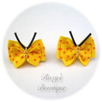 Yellow with Orange Dots Butterfly Puppy Dog Bow (pair)