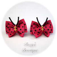 Hot Pink with Black Dots Butterfly Puppy Dog Bow (pair)