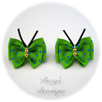Green with Turquoise Dots Butterfly Puppy Dog Bow (pair)