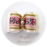 White with Pink Jacquard - Adult Dog Bow