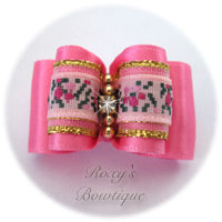 Hot Pink with Pink Jacquard - Adult Dog Bow