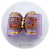 Orchid with Lavender Jacquard - Adult Dog Bow