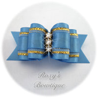 Fancy Porcelain Blue with Crystals - Adult Dog Bow