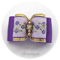 Purple with Lavender Jacquard - Adult Dog Bow