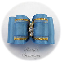 Porcelain Blue with Crystals - Adult Dog Bow
