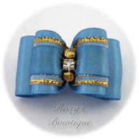 Porcelain Blue with Gold - Adult Dog Bow