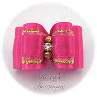 Shocking Pink with Gold - Adult Dog Bow
