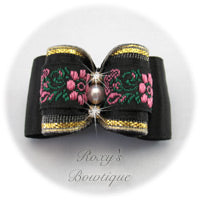 Black with Black Jacquard - Adult Dog Bow