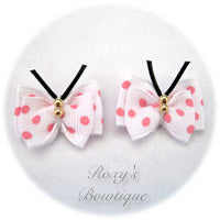 White with Pink Dots Butterfly Puppy Dog Bow (pair)
