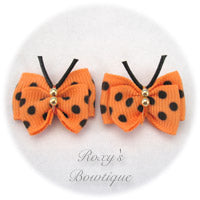 Apricot with Black Dots Butterfly Puppy Dog Bow (pair)
