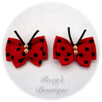 Red with Black Dots Butterfly Puppy Dog Bow (pair)