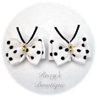 White with Black Dots Butterfly Puppy Dog Bow (pair)