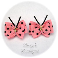 Pink with Black Dots Butterfly Puppy Dog Bow (pair)