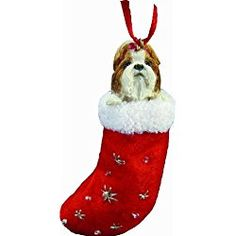 Shih Tzu Stocking Ornament - Brown - E&S Imports