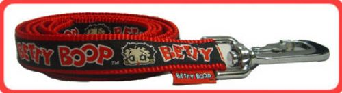 Black Betty Boop Ribbon on Red Leash