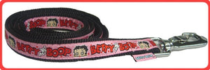 Pink Betty Boop Ribbon w/ Pup on Black Leash - Betty Boop Canine Couture