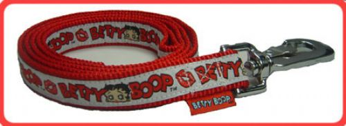 White Betty Boop Ribbon w/ Lips on Red Leash