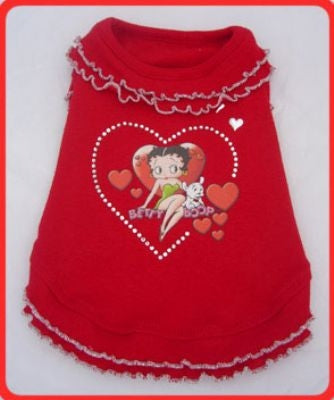 Red Ruffle Dog Dress - Betty Boop Dog Clothes