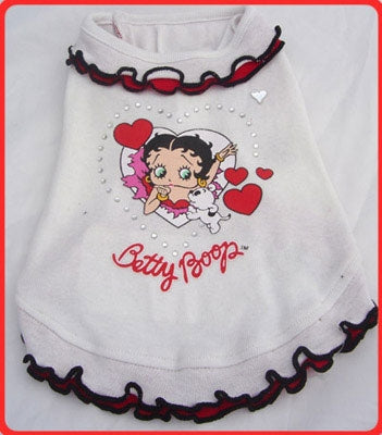 White Ruffle Dog Dress - Betty Boop Dog Clothes