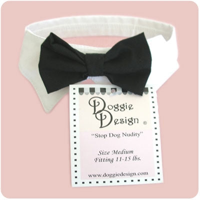 Dog Collar and Black Bow Tie Set - Doggie Design