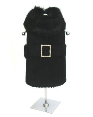Black Suede Coat with Rhinestone Buckle - Doggie Design