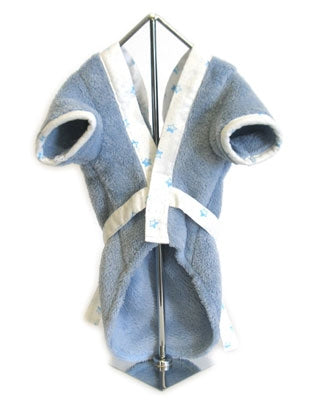 Blue Plush Terry Bathrobe