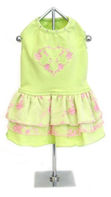 Lime Green and Pink Chiffon Tank Dress - Doggie Design