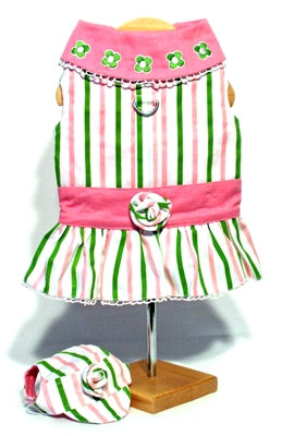 """Beverly Hills Chihuahua"" Pink & Green Stripe Harness Dress with Visor - Doggie Design"