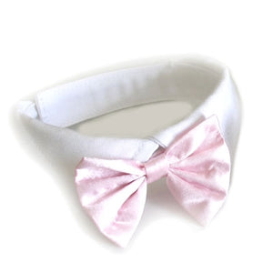 Pink Satin Bow Tie and Collar - Dog Bow Tie - Doggie Design