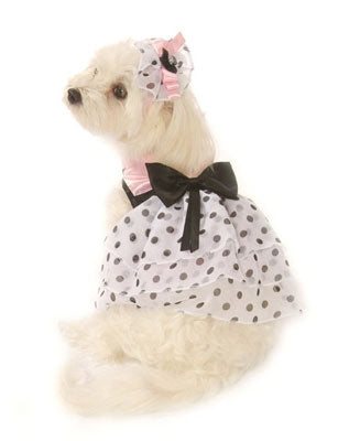 Pink Satin & Polka Dot Chiffon Dress with Veil Hat - Doggie Design