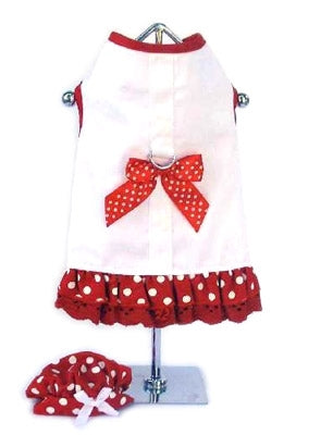 White/Red Harness Dress with Dots