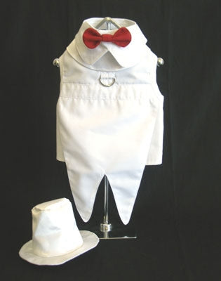White Dog Tuxedo with Tails, Top Hat, and Bow Tie Collar - Doggie Design