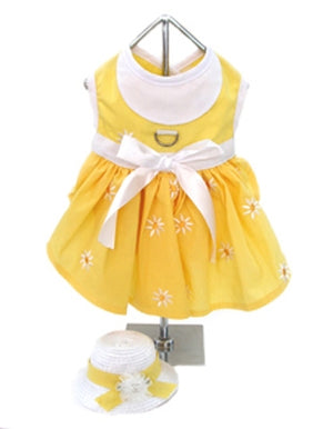 Yellow Daisy Dress with Hat and Leash - Doggie Design