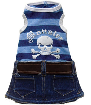 Blue Denim Monster Mini Skirt - Monkey Daze