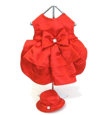 Red Satin Dog Harness Dress with Hat