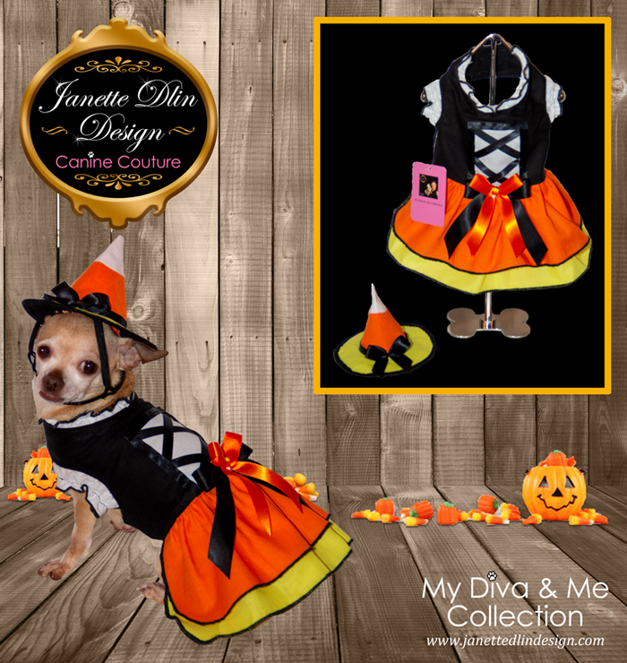 Halloween Candy Corn Witch Dog Dress