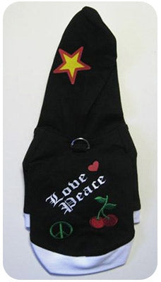 Love and Peace Black Dog Hoodie - Monkey Daze