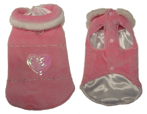 Pink Velour Dog Coat - Monkey Daze