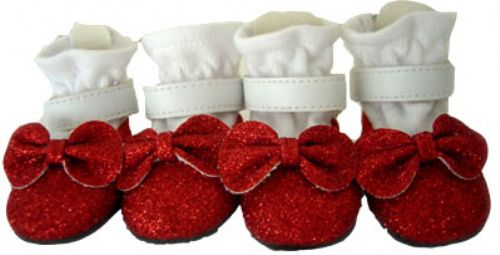 Red Glitter Dog Shoes