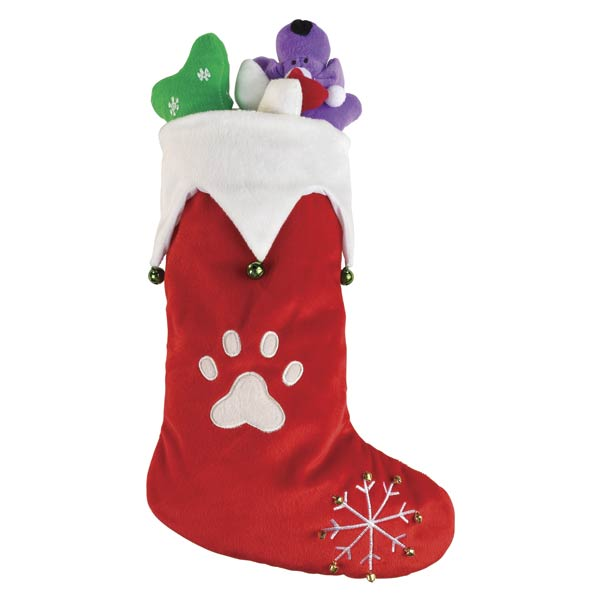 Jingle Bell Stocking - Plush Puppies