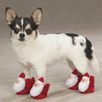 Santa Holiday Dog Slippers