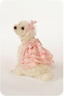 Pink Satin Dress with Veil Hat & Leash Set - Doggie Design