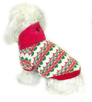 Pink Tree Knit Sweater - Doggie Designer