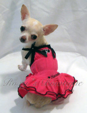 Heart Breaker Fuchsia and Black Ruffle Dress - Platinum Puppy Couture