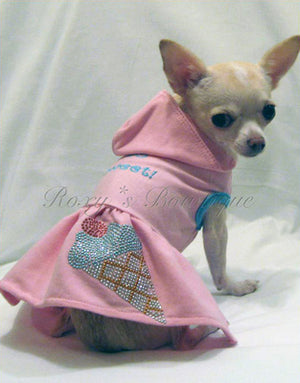 So Sweet Ice Cream Dog Hoodie Dress - Platinum Puppy Couture