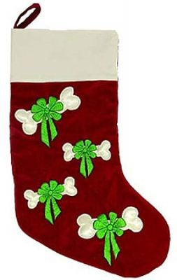 Bow and Bone Embroidered Stocking - Plush Puppies